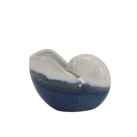 "Ceramic 6"" Nautilus Shell, White/blue"
