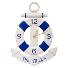 Personalized Anchor Clock - Navy/Blue