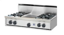 "36"" BlueStar Rangetop. All gas.. Features NOVA™, ULTRANOVA™, and Simmer Burners for up to 22,000 BTUs .. Automatic electronic ignition and re-ignition system.. Push-to-turn, infinite setting top burner controls with 130(DEGREE) simmer burner.. Heavy-duty control knobs.. Removable drip trays with steel roller bearings.."