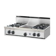 """36"""" BlueStar Rangetop. All gas.. Features NOVA™, ULTRANOVA™, and Simmer Burners for up to 22,000 BTUs .. Automatic electronic ignition and re-ignition system.. Push-to-turn, infinite setting top burner controls with 130(DEGREE) simmer burner.. Heavy-duty control knobs.. Removable drip trays with steel roller bearings.."""