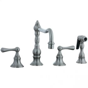 Highlands - 4 Hole Widespread Pillar Kitchen Faucet with Side Spray - Brushed Nickel
