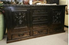"84"" Ombre Black Carved Door Dresser"