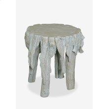 """(LS) 18""""H Fringe Round Antique Teakwood Stool In White Wash (17x17x18)"""