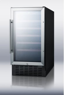 "18"" wide wine cellar for built-in or freestanding use, with digital controls, lock, and LED lighting"