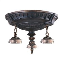 Mix-N-Match 3-Light Round Flush Mount in Aged Walnut (GLASS NOT INCLUDED)