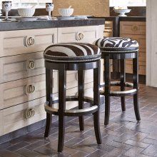 Zebrano Swivel Barstool - Backless