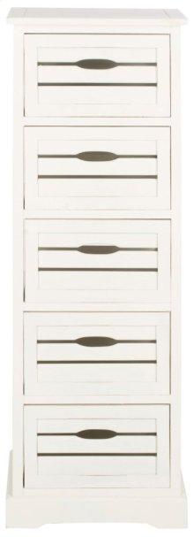 Sarina 5 Drawer Cabinet - Distressed Cream