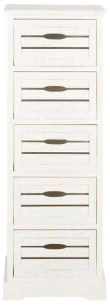 Sarina 5 Drawer Cabinet - Distressed Cream