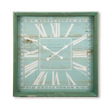 Wooden Wall Clock XL, Turquoise