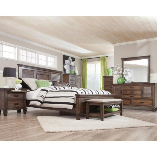 Franco Burnished Oak King Five-piece Bedroom Set
