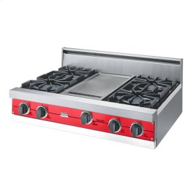 "Racing Red 36"" Open Burner Rangetop - VGRT (36"" wide, four burners 12"" wide griddle/simmer plate)"