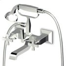 Exposed bath-shower mixer with diverter, handshower, 1500 mm flexible hose. Product Image