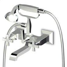 Exposed bath-shower mixer with diverter, handshower, 1500 mm flexible hose.