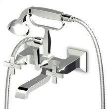 Exposed bath-shower mixer with diverter, handshower, 1500 mm flexible hose.