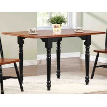 DLU-TLD3448-BCH  Drop Leaf Dining Table  Antique Black with Cherry Finish Top