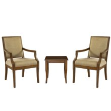 "3-Pc. Set - 2 Rect-Back Accent Chairs with 1 ""Light Cherry"" End Table"