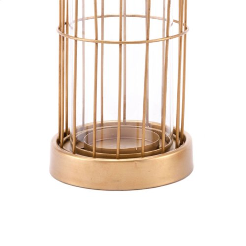 Birdcage Candle Holder Sm Gold