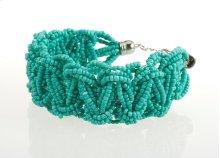 BTQ Dark Teal Woven Bead Bracelet
