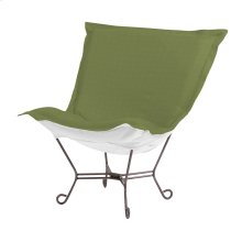 Scroll Puff Chair Seascape Moss Titanium Frame