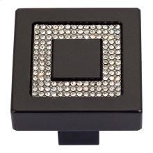 Crystal Square Inset Knob 1 3/8 Inch - Matte Black