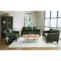 Miles Leather Loveseat in Fescue Green Product Image