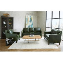 Miles Leather Accent Chair in Fescue Green