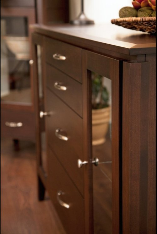Sideboard W/4 Drawers, Glass Sides & Doors