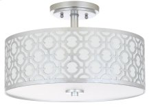 Vera 3 Light 15.5-INCH Dia Silver Flush Mount - Silver Shade Color: Off-White