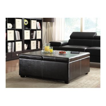 Lift-Top Storage Cocktail Ottoman with Casters