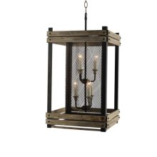 6 Light Chandelier in Wood and Rustic Brown Finish