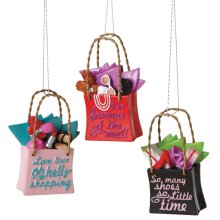 Shopping Bag with Quote Ornament (3 asstd).