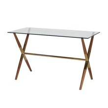 X Base Wooden Desk With Brass Joint Detail & Glass Top.