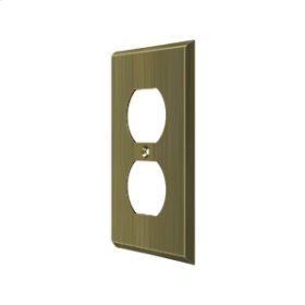 Switch Plate, Double Outlet - Antique Brass
