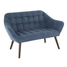 Boulder Love Seat - Walnut Wood, Blue Fabric