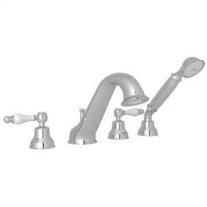 Polished Chrome 4-Hole Deck Mounted Bathtub Filler With Handshower with Arcana Classic Metal Lever