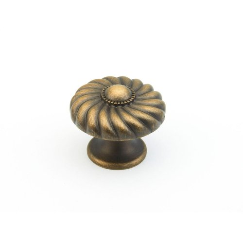 "Solid Brass, Casual Elegance, Round Knob, 1-3/8"" diameter, Redington Brass finish"
