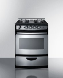 """24"""" Wide Slide-in Gas Range In Stainless Steel With Electronic Ignition, Oven Window, and Open Burners"""