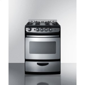 """Summit24"""" Wide Slide-in Gas Range In Stainless Steel With Electronic Ignition, Oven Window, and Open Burners"""