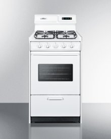 "20"" Wide Gas Range In White With Sealed Burners, Digital Clock/timer, Oven Window, Interior Light, and Spark Ignition"