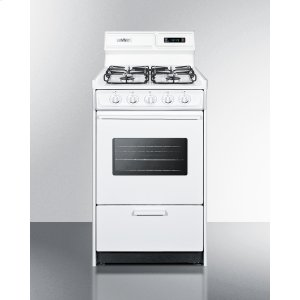 "Summit20"" Wide Gas Range In White With Sealed Burners, Digital Clock/timer, Oven Window, Interior Light, and Spark Ignition"