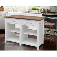 "Hilton Counter Kitchen Island White 49""x23""-32""x36"" (9"" Leaf)"