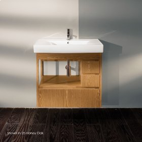 "Wall-mounted undercounter vanity with large bottom drawer and two small drawers on the right, 34""W, 17""D, 24""H."