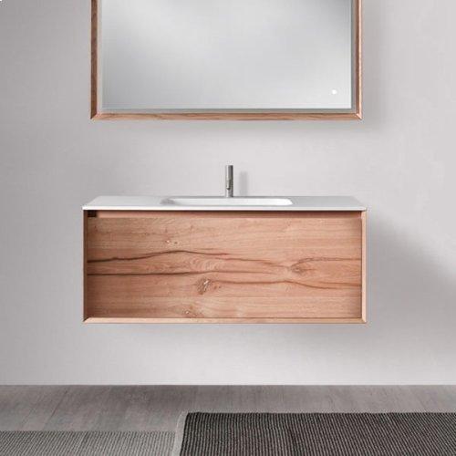 "45° FULL series 1200 vanity, White Matte frame/Vintage Oak front; 47 1/4"" w x 19"" h x 20"" d"