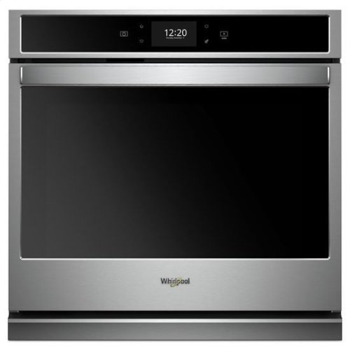 Whirlpool® 5.0 cu. ft. Smart Single Wall Oven with True Convection Cooking - Black-on-Stainless