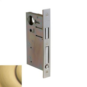 Satin Brass and Brown 8632 Pocket Door Lock with Pull