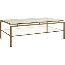 Montpelier Cocktail Table with Clear Glass Top & Shelf