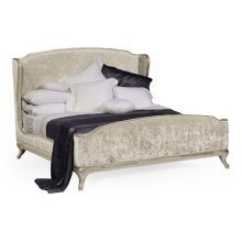 US Queen Louis XV Country Sage Bed, Upholstered in Calico Velvet