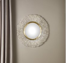 Round Crystal Mirror Convex Mirror, Hand Applied Quartz Crystal. Gold Leaf Detail. Clean Glass.