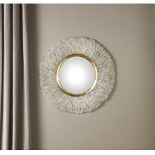 Round Crystal Mirror Convex Mirror, Hand Applied Quartz Crystal. Gold Leaf Detail. Clean Glass.
