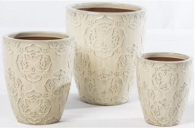 Ivory Lace Planter - Set of 3